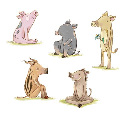 Schweinchengang, Characterdesign, 2019